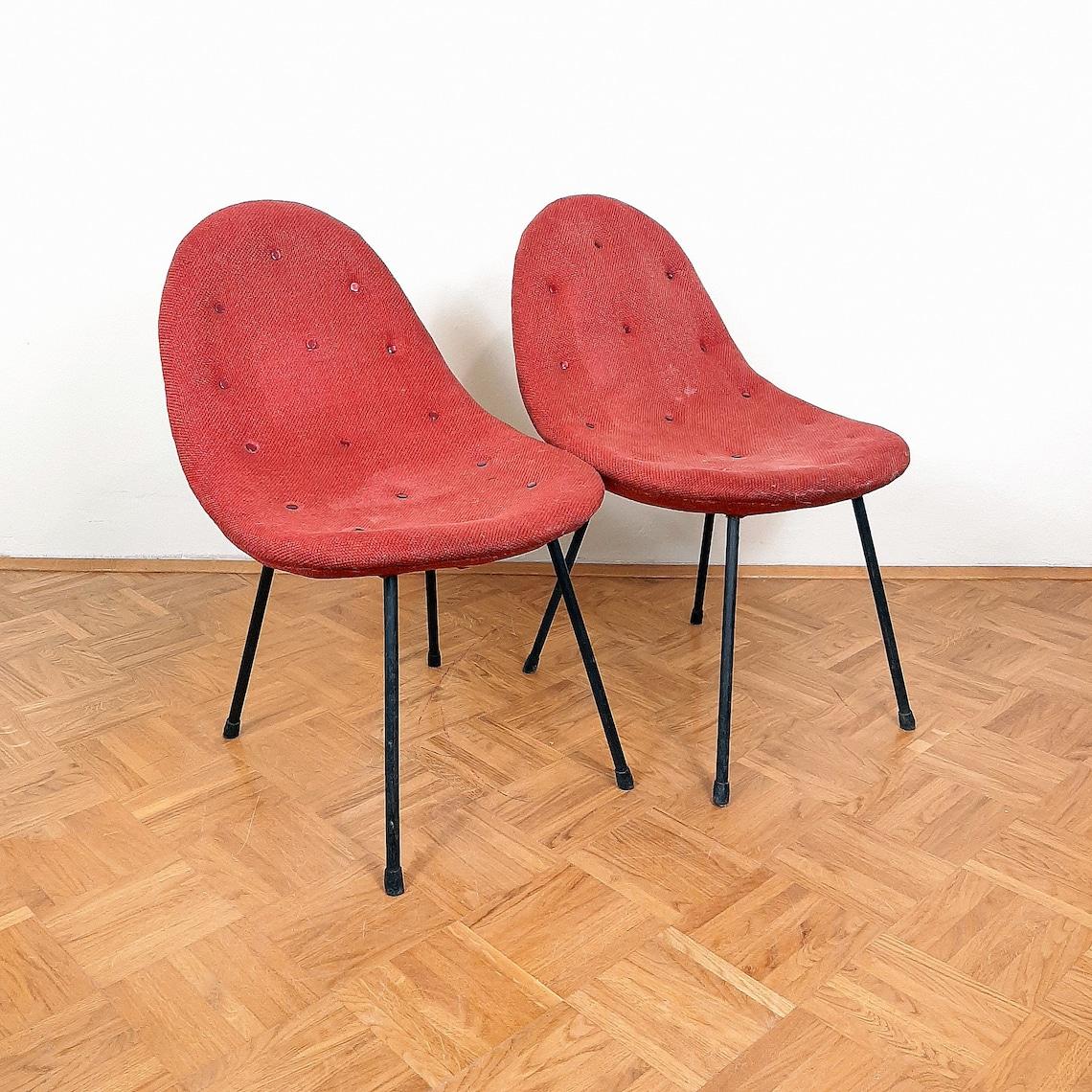 Pair of Mid-century Cocktail Armchair 1963 Italian style Yugoslavia Red Chair Lounge Armchair Original textil Vintage chair