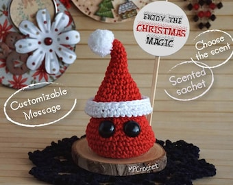 Happy Christmas, Santa Claus scented sachet with message, Christmas ornament, Christmas gift, Enjoy the Christmas Magic message