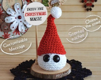 Merry Christmas, Scented sachet with message, Christmas ornament, Snowman scented sachet, Christmas gift, Enjoy the Christmas Magic message