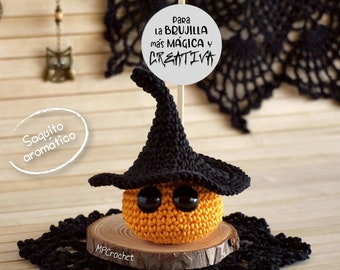 Halloween witch, Aromatic sachet customizable message, Gift for women, Halloween decoration, Miniature witch scented sachet, Halloween card