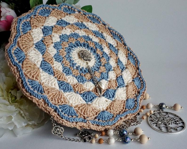 Iroco brown and opal blue boho wall ornament vintage crochet image 0