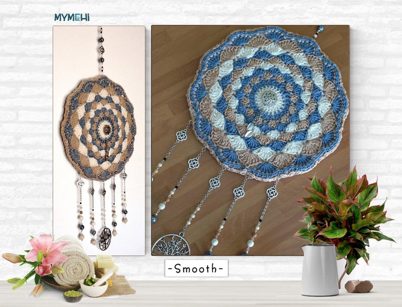 Iroco brown and opal blue boho wall ornament vintage crochet image 0