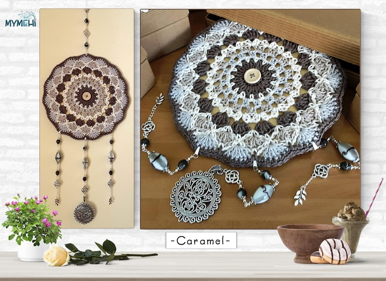 Brown and beige mindfulness mandala yoga room decoration image 0