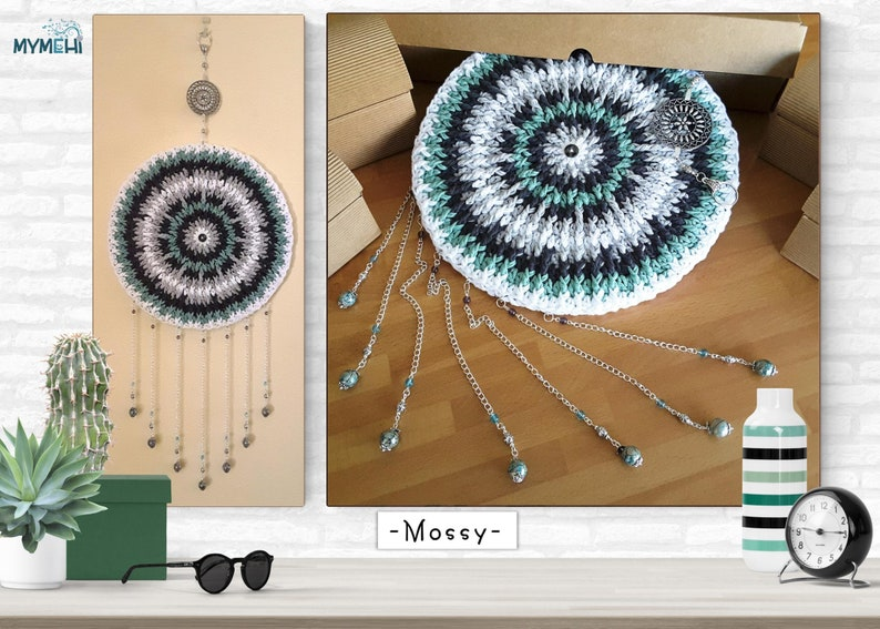 Dreamcatcher green white and grey reversible mandala mobile image 0