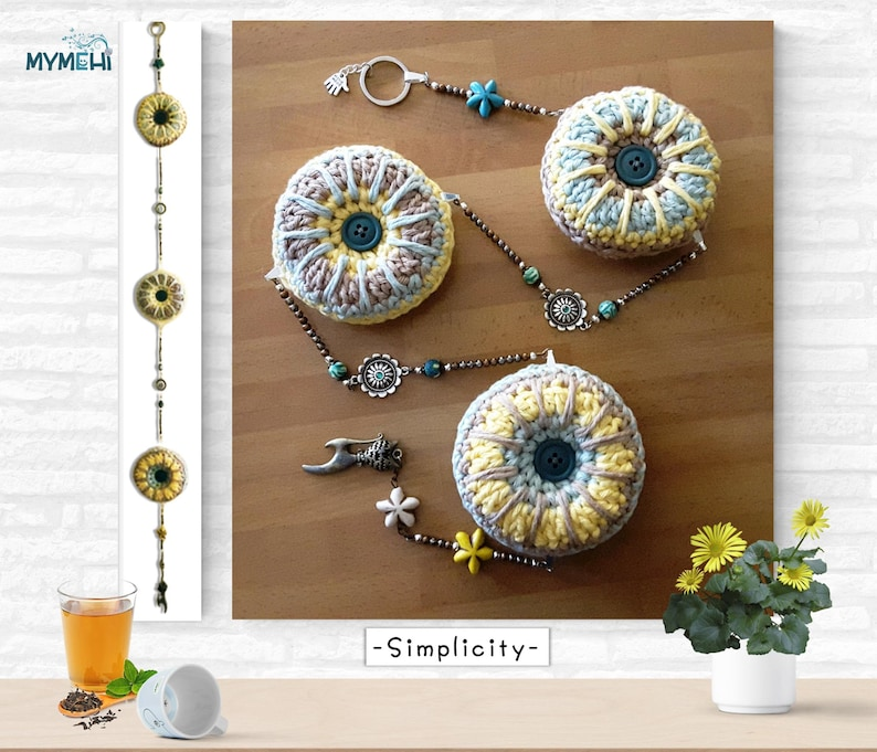 Ornament with star mandalas and kitty green yellow and linen image 0