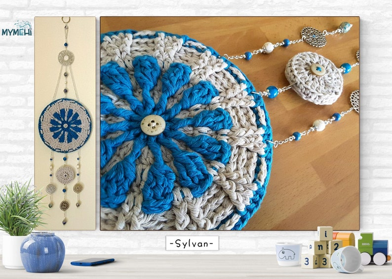 Wall ornament turquoise blue and linen crochet hanging image 0