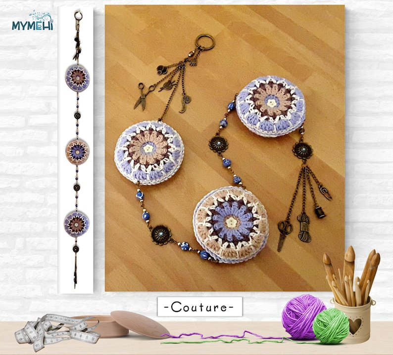 Hanging mandalas with charms for sewing gift for seamstress image 0