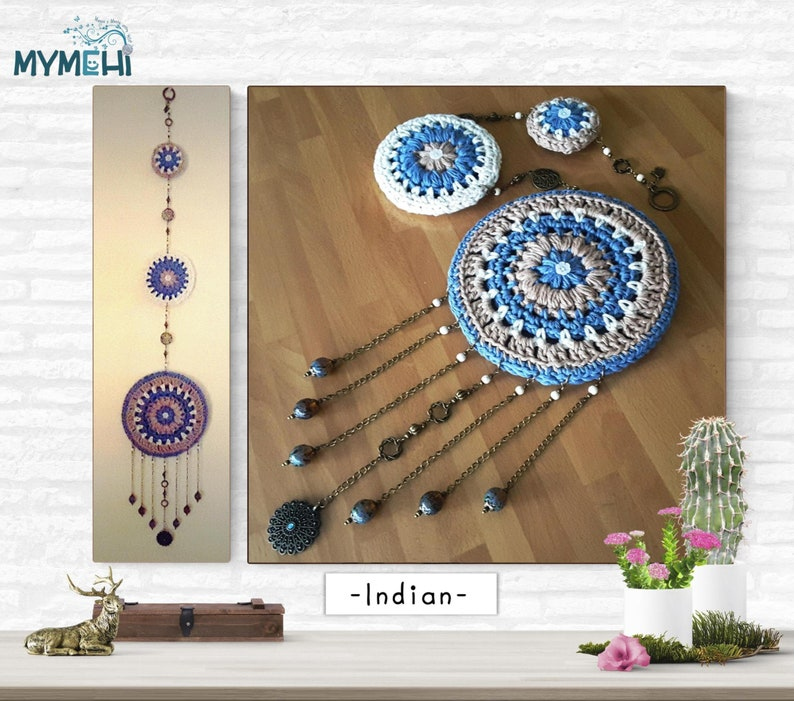 Reversible Dream Catcher boho vintage wtih three pieces in image 0