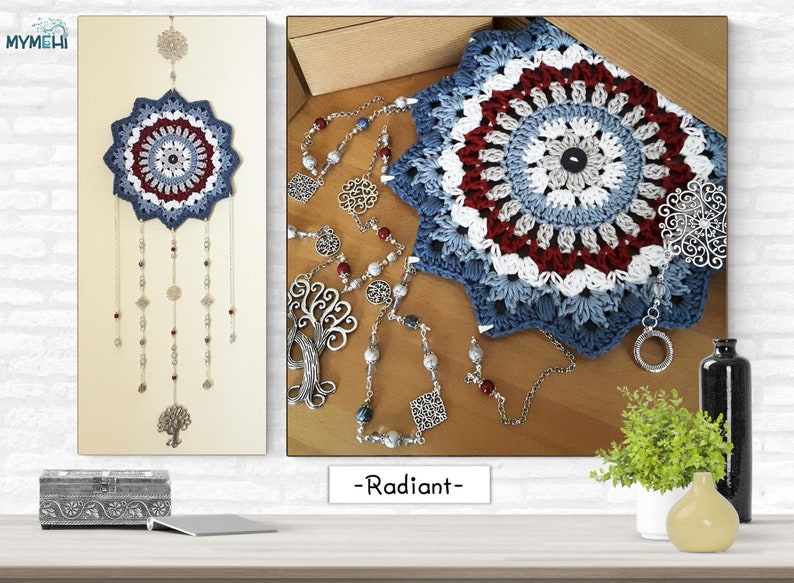 Vintage star dreamcatcher boho red and white blue reversible image 0