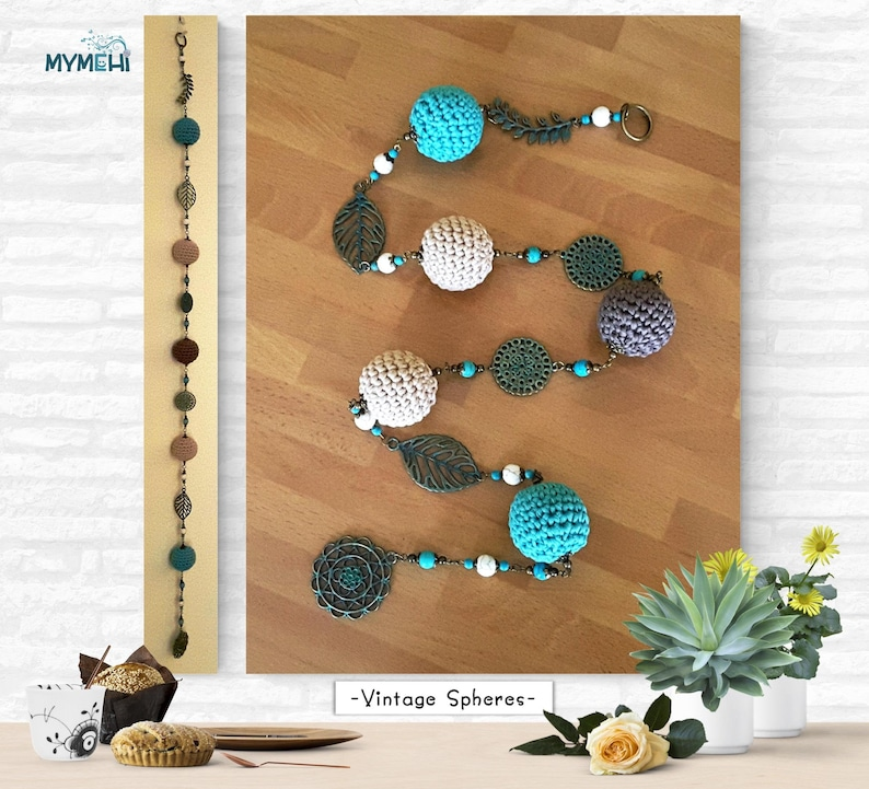 Mobile spheres and filigree vintage colors turquoise garland image 0