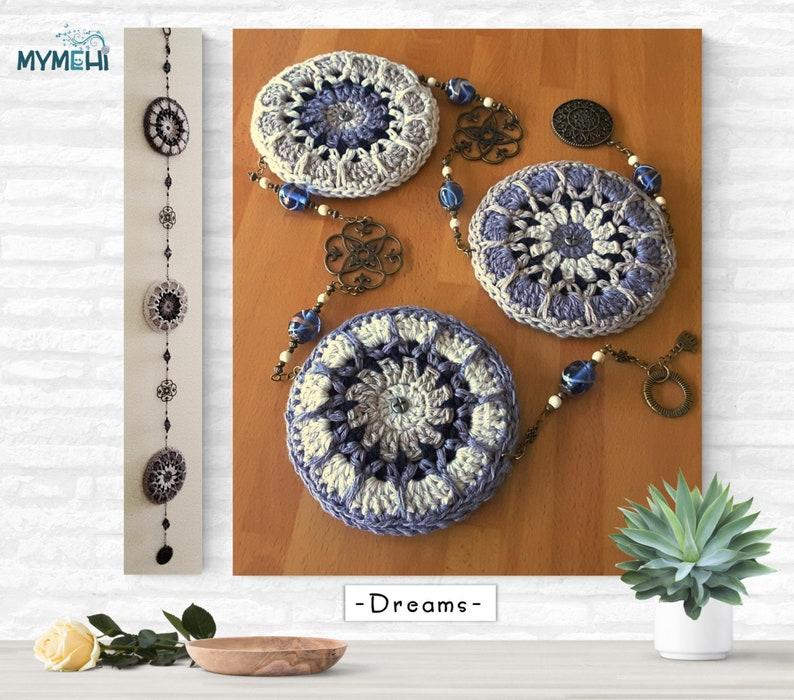 Hanging mandalas decoration vintage boho decoration grey and image 0