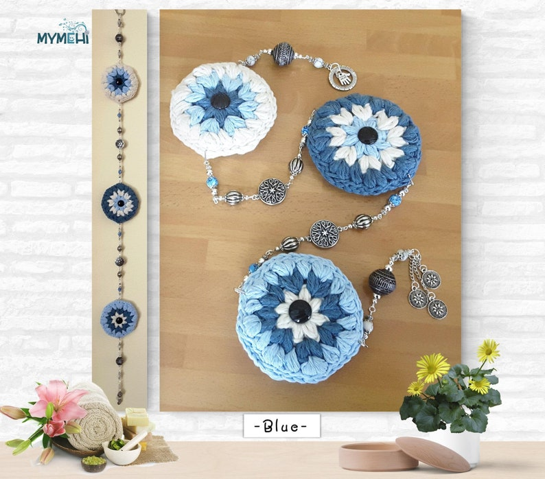 Mobile pendant with mandalas and flowers blue and white image 0