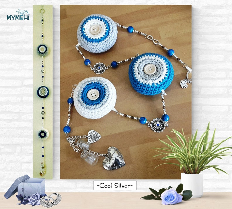 Hanging with mandalas and hearts pendant decoration turquoise image 0