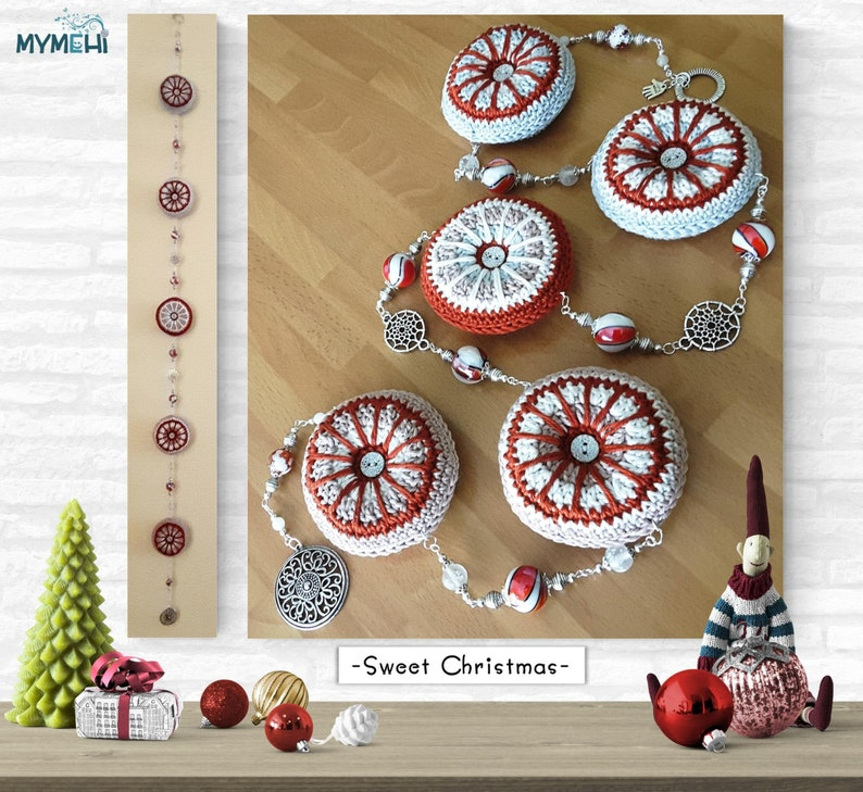 Red and white Christmas ornament pendant with mini mandalas image 0