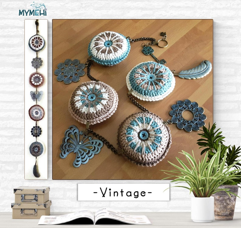 Vintage ornament with hanging mandalas green brown and beige image 0