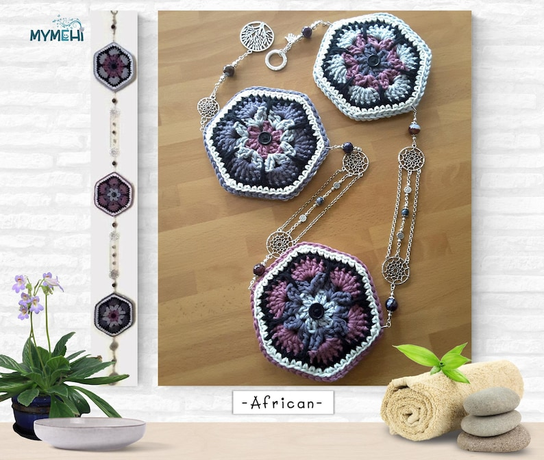 African flower hexagonal mandalas with dream catchers and tree image 0