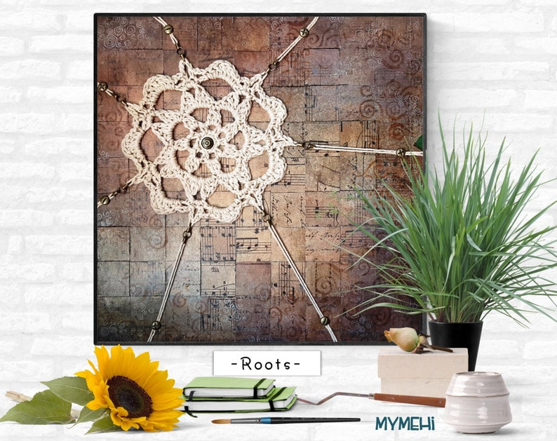 Mosaic painting on cork wall mandala mandala painting with image 0