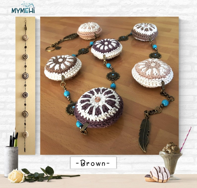 Brown and beige mini mandalas mobile hanging mandalas for the image 0