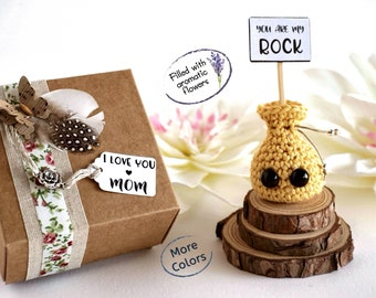 Funny miniature card for mom with a creative aromatic sachet and an original gift box. I love you Mom you are my rock. Mother's Day.