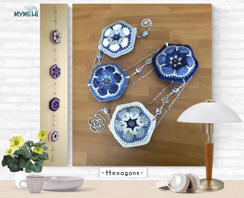 Blue and white hexagonal mini mandalas mobile or wall hanging image 0
