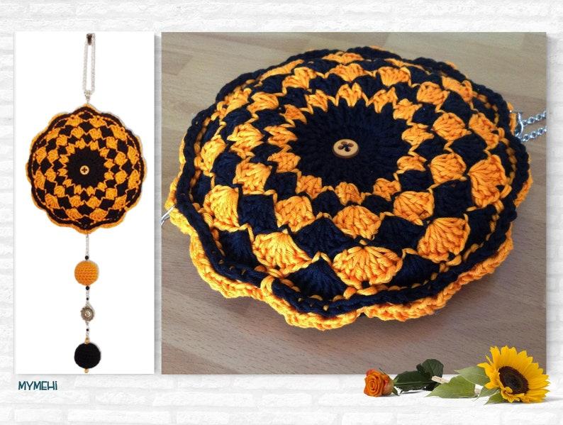 Mandala mobile for Halloween with both sides identical orange image 0