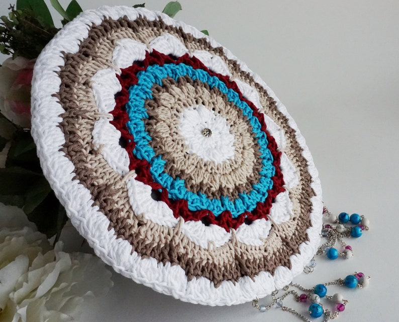 Large circular dream catcher turquoise white and brown ideal image 0