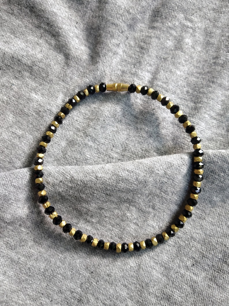 Bollywood boho Style Black and Golden gift for her brass metal and glass crystal beads payal Elegant Brass small Beaded anklet