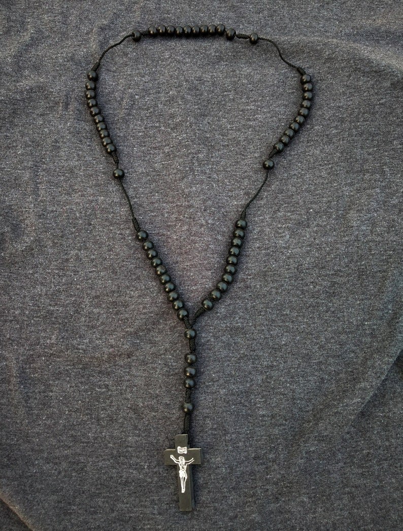 charm Wooden black Rosary Bead Unisex Cross neck chain Hand Crafted neck chain single strand beaded Thread Braided traditional