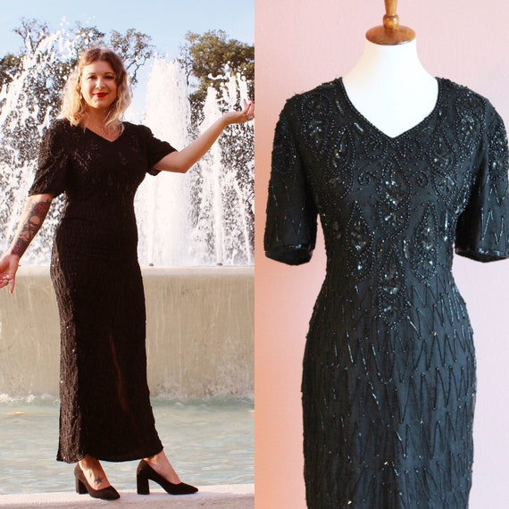 80's black beaded evening gown