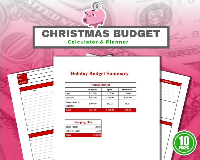 Christmas Budget Planner Printable with Calculator  10 PDF image 0