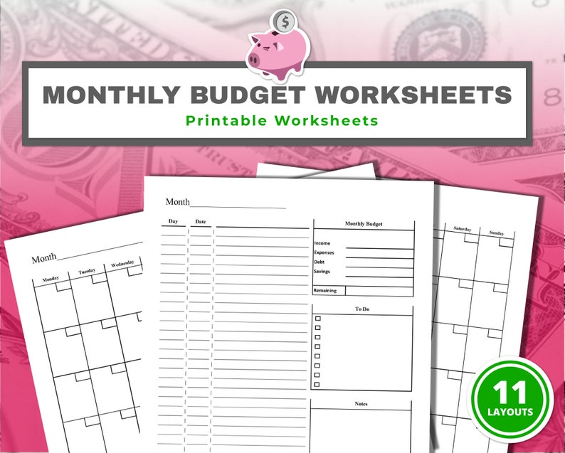 Monthly Budget Printable Worksheets 11 PDFs Printable image 0