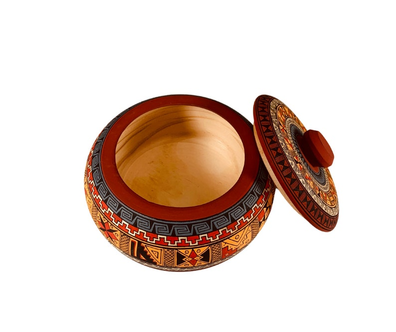 Unisex Wooden Jewelry Gift Box Hand Painted Jewelry Box Bowl Peruvian Design Inca Art Men,Women Gifts for Him and Her