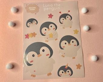 Luna the penguin planner sticker set