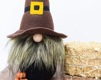 Pilgrim Gnome - Fall, Handmade, Nisse, Autumn, Decoration, Home Accent, Friendsgiving Gift, Thanksgiving