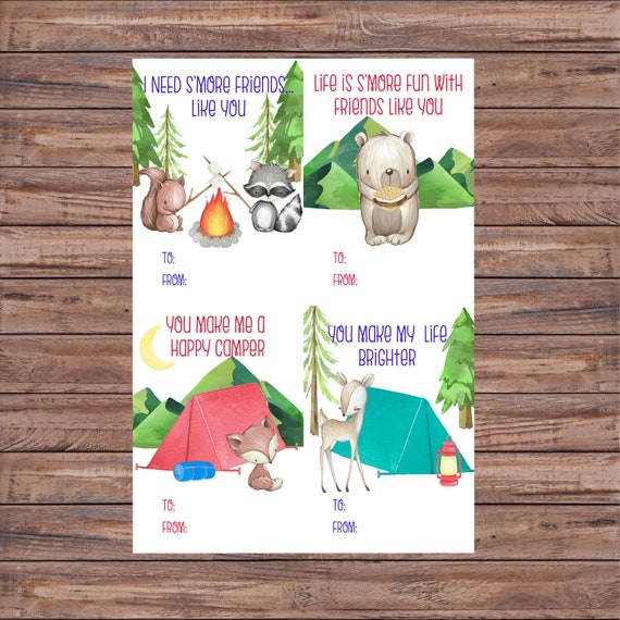 Valentines S'mores Cards Valentine Camping Cards Print
