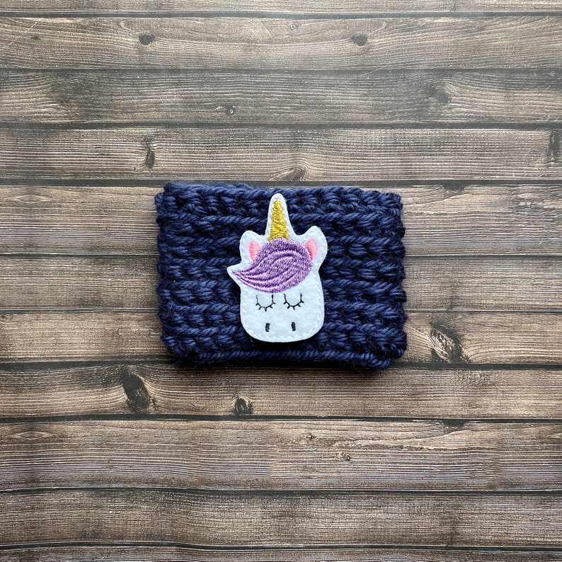 Fancy Lashes Unicorn Crochet Cup Cozy   Coffee Cozie  Blue