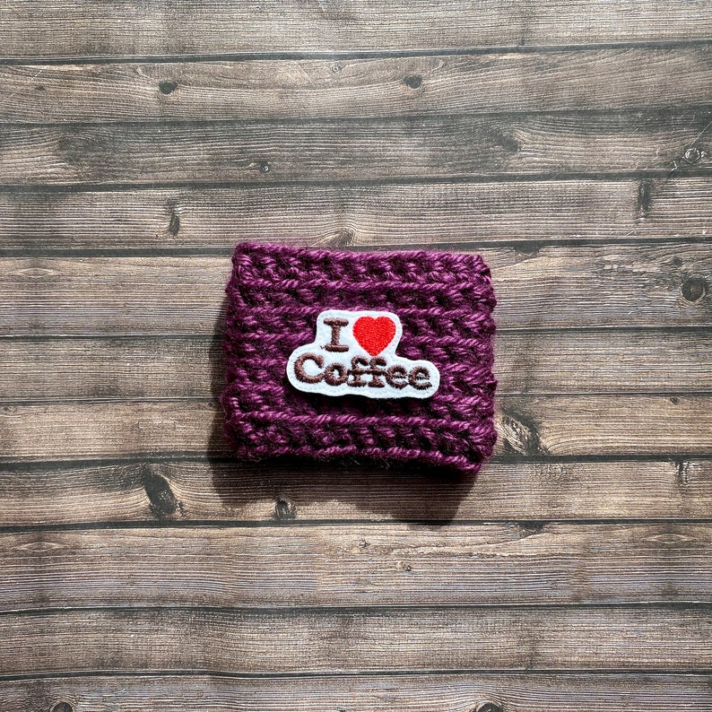 I Love Coffee Crochet Cup Cozy   Coffee Cozie  Reusable Purple
