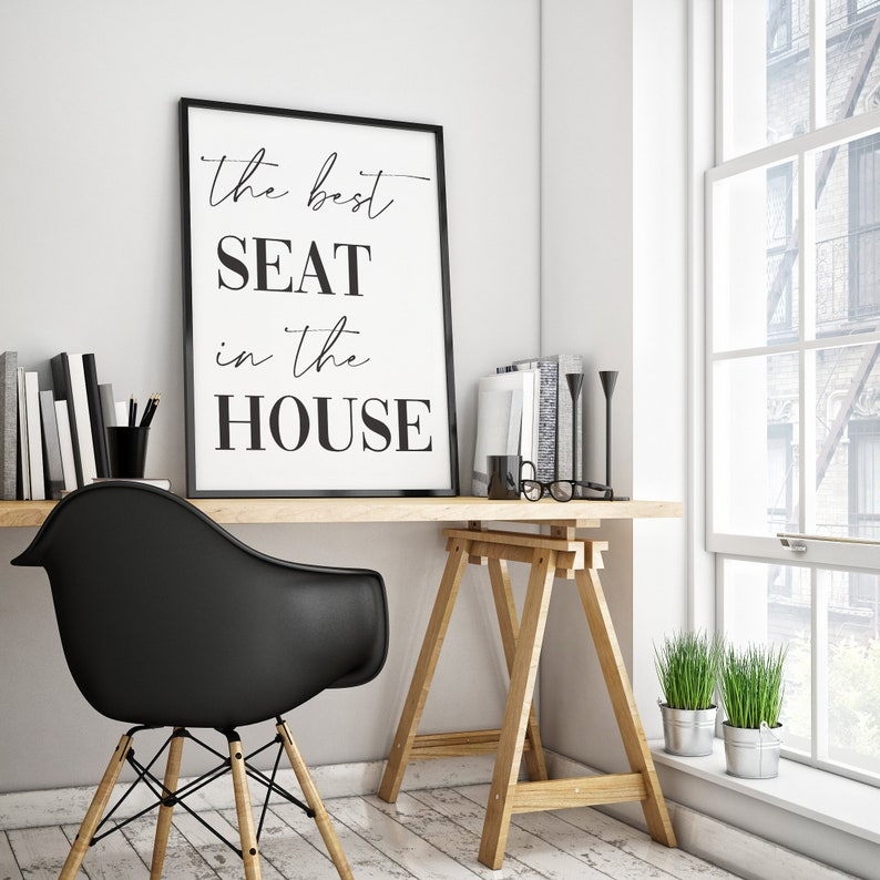 The best seat in the house Print Bathroom Poster Bathroom Sign Printable Wall Art Dining Table Poster