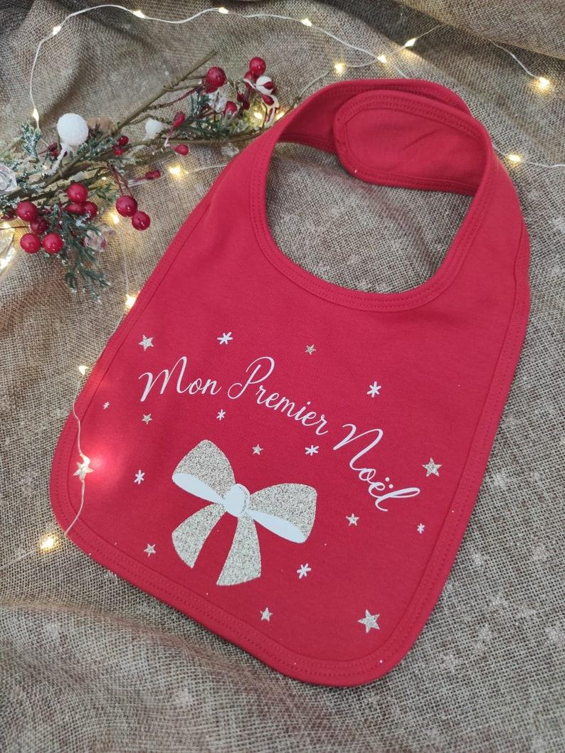 Bavoir bébé Mon premier Noël - Créatrice ETSY : Lescreationsdelyllou