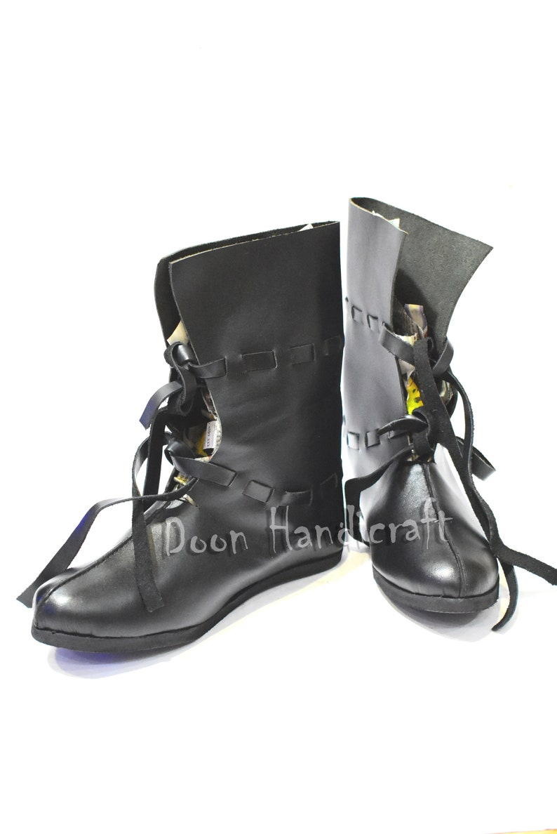 Black real leather boots Dark cattle leather Medieval style Festival shoes by Wild Good Spring Ethnic Larp shoes barefoot shoes