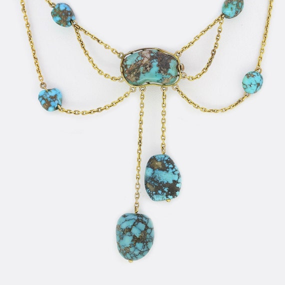 Antique 9ct Yellow Gold Rough Turquoise Drop Neckl