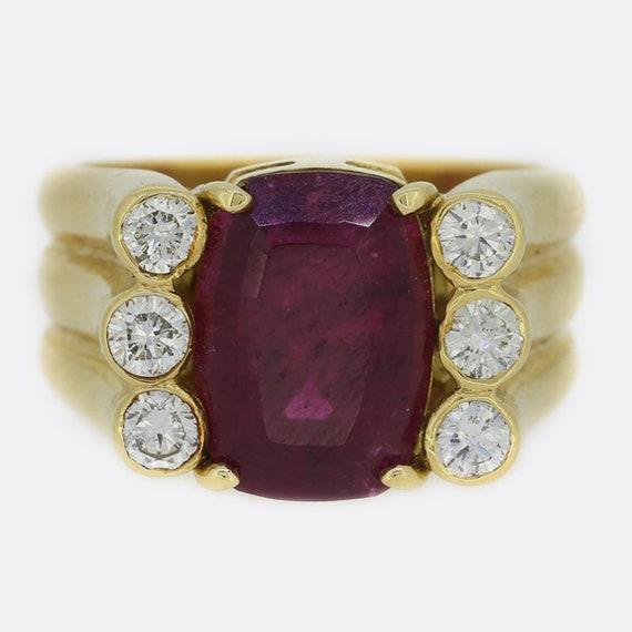 Pink Tourmaline and Diamond 18ct Yellow Gold Ring