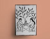 Growing together - A5 Linolschnitt