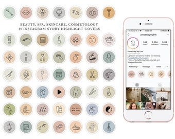 56 Beauty, Makeup, MedSpa, Nail Salon, Medical Spa, Skincare, Relaxation, Esthetician, Cosmetic Instagram Story Highlight Cover Icons