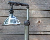 Industrial Pipe Table Lamp - Edison Style Automotive Spring - Steampunk - Vintage