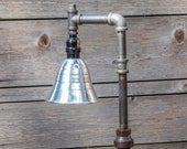 Industrial Pipe Table Lamp - Edison Style Vintage Gear - Steampunk - Vintage