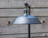 Industrial Pipe Table Lamp - Edison Style Valve Handle - Vintage Pressure Gauge - Steampunk