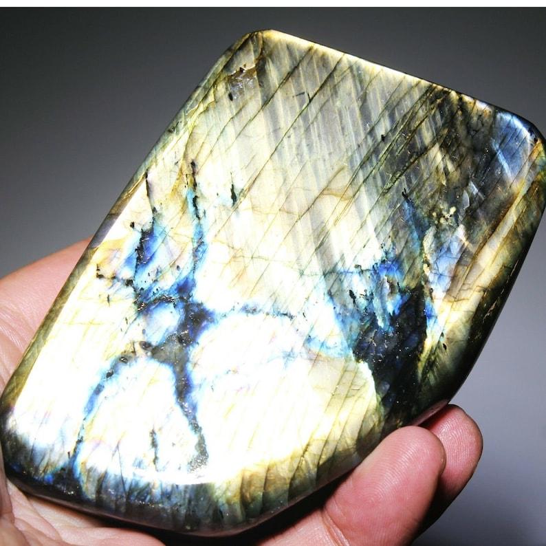 568g Natural Polished Gold Labradorite Spectrolite Specimen Quartz Crystal Healing