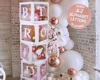 Bridal Shower Decorations Balloon Boxes White- 96pcs Transparent Block with Bride to BE + Groom + A-Z Alphabet Letters and 40 Balloons