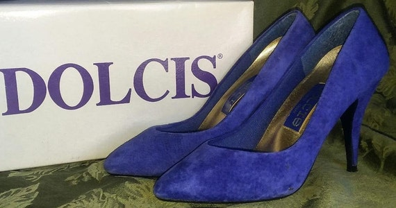 Dolcis Classic Suede Electric Blue 1980's Pumps